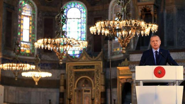 2018-ci ilin martında Erdoğan Ayasofya Muzeyindəki sərginin açılışında çıxış edib