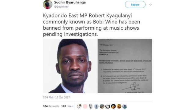Wetin police talk about Bobi Wine.