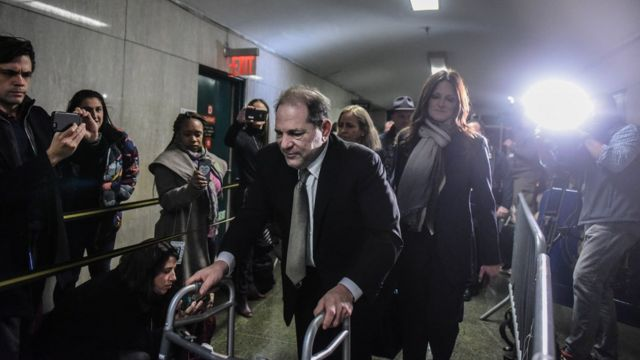 Harvey Weinstein exits the courtroom at New York City criminal court on January 8
