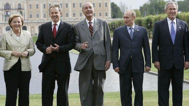 Putin e líderes na reuniçao do G8, em 2006, na Rússia