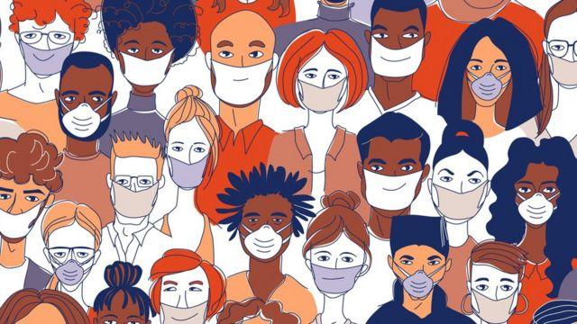 Una ilustración con personas usando mascarillas