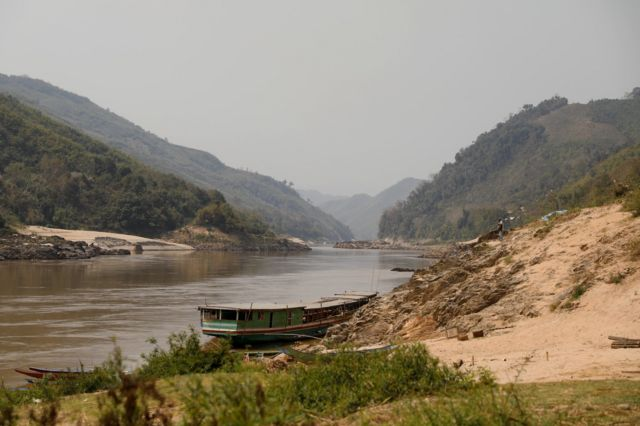 แม่น้ำโขงช่วงเมืองปากแบง แขวงอุดมไซย สปป.ลาว เมื่อเดือน ก.พ. ปี 2561