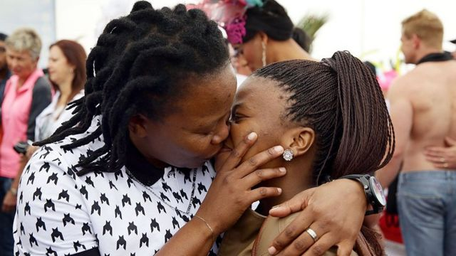 Two lesbain women for Durban, South Africa dey kiss