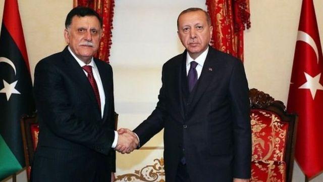 Libya Başbakanı Fayez al-Sarraj ve Cumhurbaşkanı Recep Tayyip Erdoğan