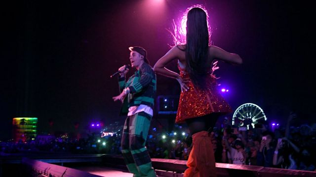 Justin Bieber performing with Ariana Grande at Coachella