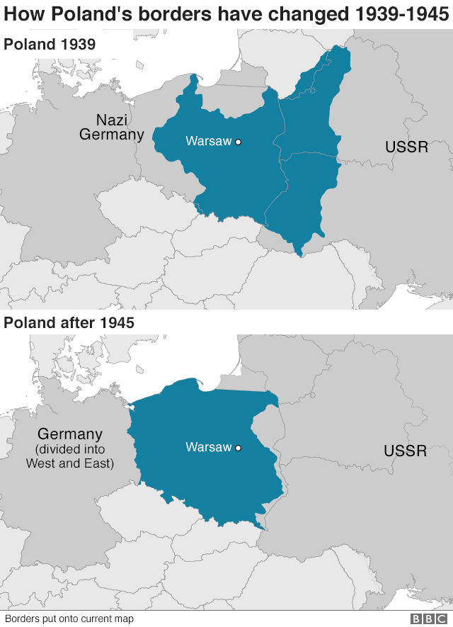 Map showing Poland before 1939 and Poland after 1945