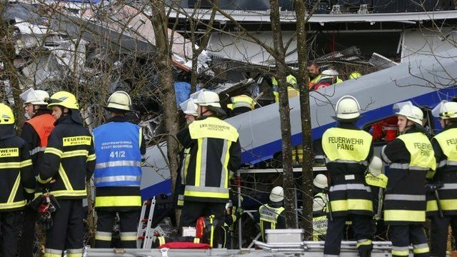 The scene of the train crash in Bavaria