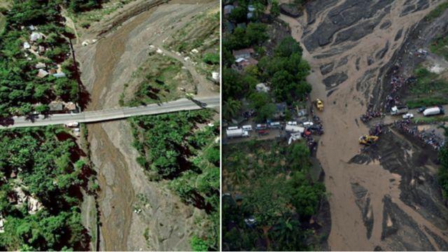 La imagen del antes de un puente en la zona de Petit Goave en Haití y el después que muestra cómo se desplomó dicho puente.