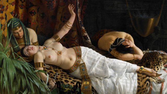 Pintura representando suicídio de Cleópatra