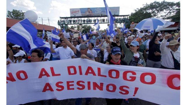 Manifestación en contra del gobierno de Daniel Ortega.