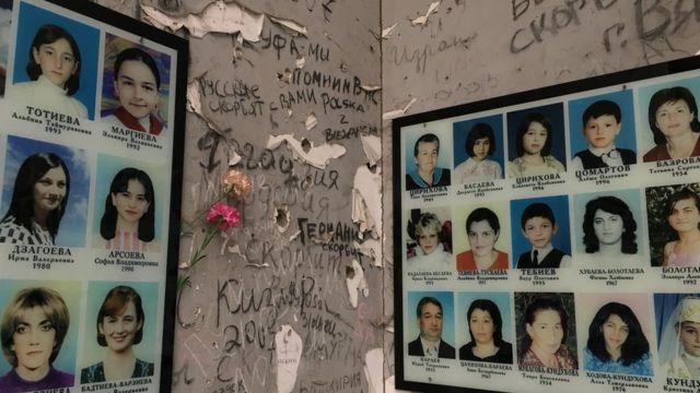Фотографии погибших в 2004 году в Беслане детей.