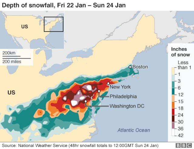 24日の降雪量(単位:インチ)