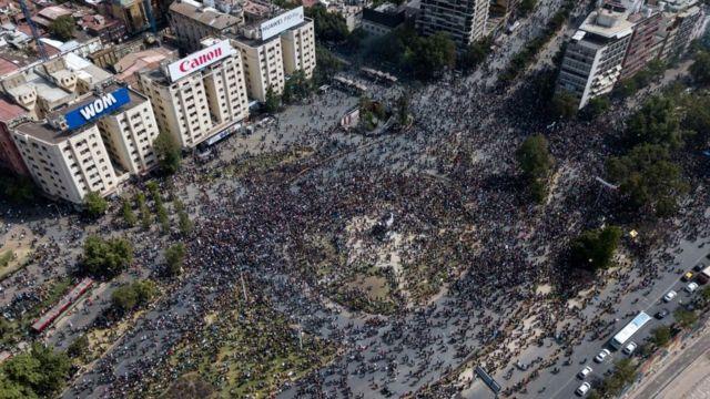Manifestación en Santiago de Chile el 23 de octubre.