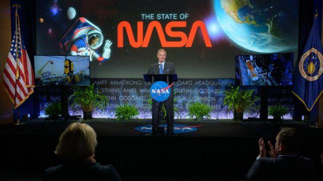 """Bill Nelson durante su discurso sobre el """"Estado de la NASA"""""""