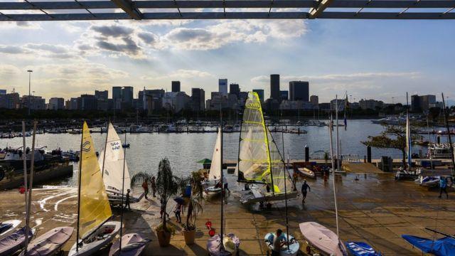 A Marina da Glória é a base das competições de vela, que acontecem nas águas da Baía de Guanabara