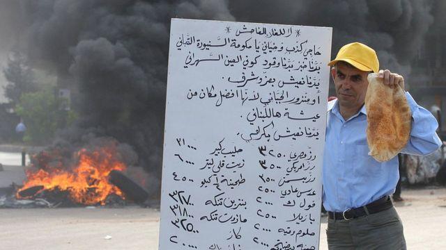Homem segura pão em protesto no Líbano, 7 de maio de 2008
