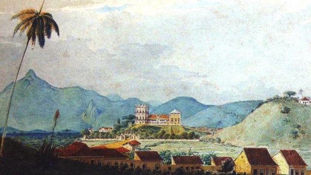 Aquarela de cerca de 1830-34 do Paço Imperial, com o atual museu ao fundo