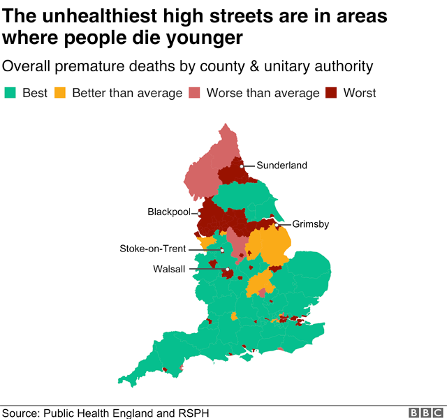 Map showing how the unhealthiest high streets are in areas where people die younger