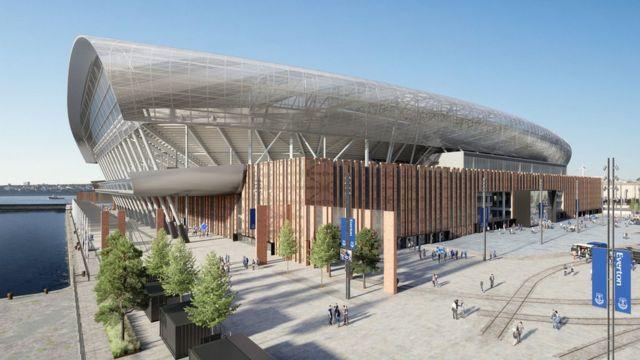 Ilustración del proyecto del nuevo estadio del Everton FC, que está siendo construido en el frente marítimo de Liverpool.