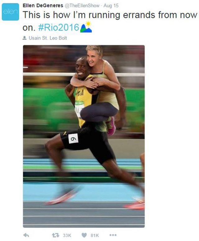 """Un tuit de Ellen DeGeneres con un fotomontaje de ella sobre la espalda de Usain Bolt y el texto: """"Así es como haré mis mandados de ahora en adelante"""""""
