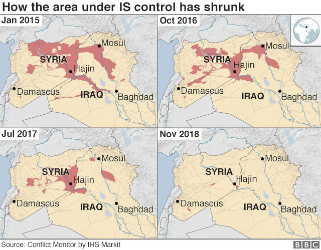 Four maps showing how the area under IS control has shrunk since Jan 2015
