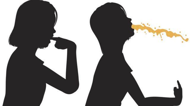 Ilustración de una mujer vomitando.