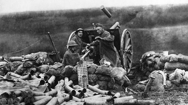 Soldados estadounidenses en Francia durante la Primera Guerra Mundial.