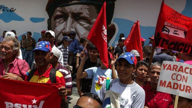 Marcha a favor de Nicolás Maduro en Venezuela