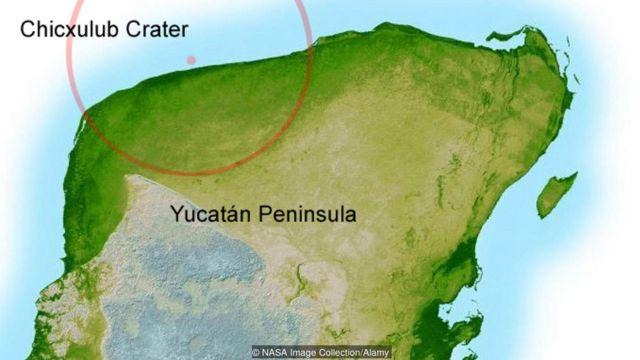 Lugar de impacto del meteorito que extinguió a los dinosaurios