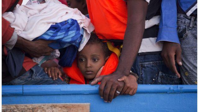 Grupo de migrantes en el Mediterráneo