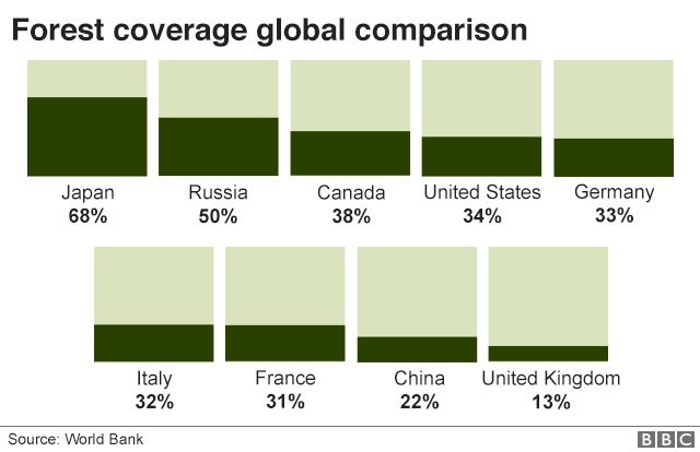 Block chart showing forest coverage across 9 developed nations