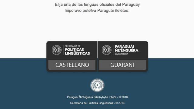 Um site do governo paraguaio dá a opção de escolher ver a página em espanhol ou em guarani