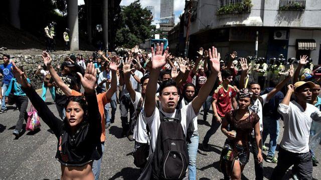 Protesta de los estudiantes de la Universidad Central de Venezuela.