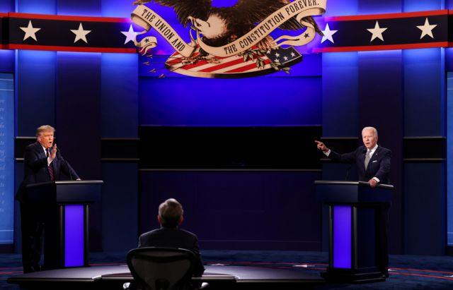अमेरिकी राष्ट्रपति डोनल्ड ट्रम्प डेमोक्रेटिक राष्ट्रपतीय उम्मेदवार जो बाइडनसँग क्लीभल्यान्ड ओहायोमा पहिलो राष्ट्रपतीय अभियान बहस गर्दै