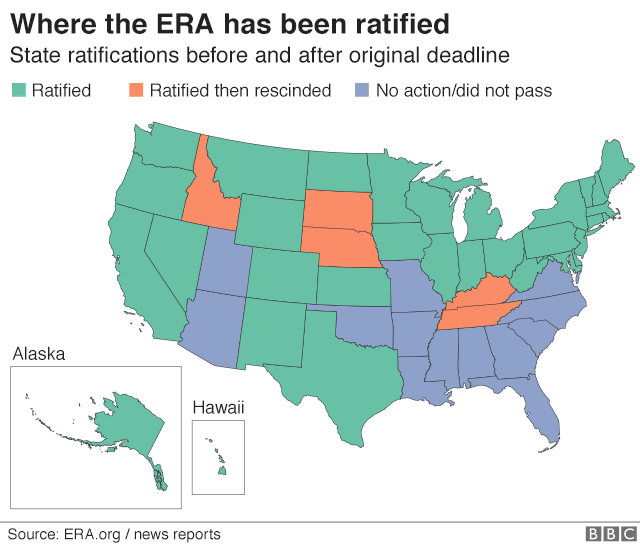 Map of US showing states ratified, rescinded or no action taken