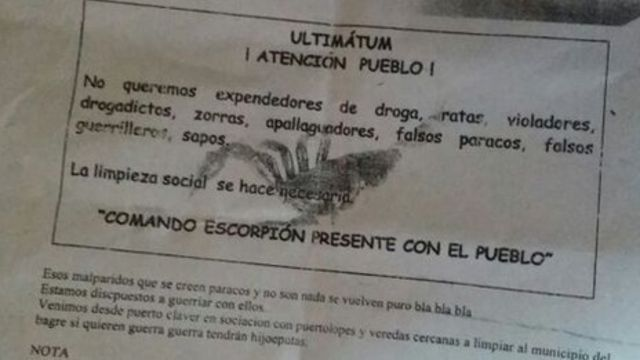 Panfleto amenazante que circuló en El Bagre, Antioquia.