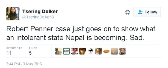 @TseringDolkerG tweets: Robert Penner case just goes on to show what an intolerant state Nepal is becoming. Sad.