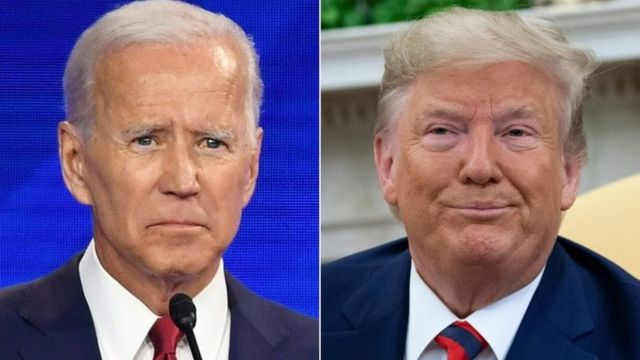 A composite image showing Joe Biden on the left and Donald Trump on the right
