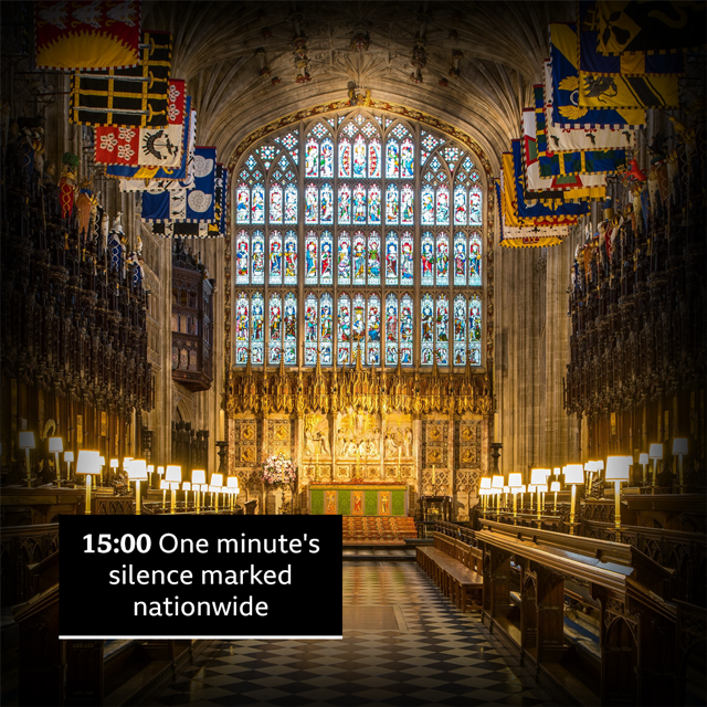At 15:00BST there will be one minute's silence