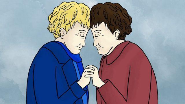 Dibujo de Eva y Miriam mayores