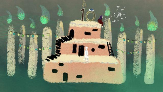 Ilustración que muestra un pastel de cumpleaños con unos niños en miniatura rodeados de 10 velas