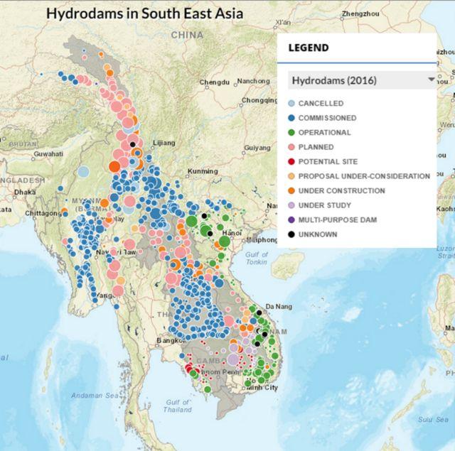 Vị trí các dự án thủy điện ở Đông Nam Á, Phạm Phan Long soạn ra từ OpenDevelopmentMekong