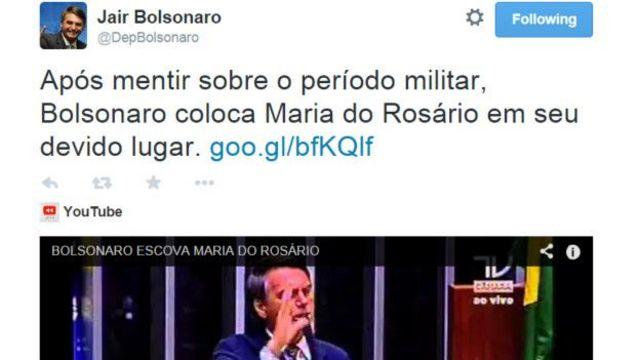 Reprodução de tuíte de Bolsonaro