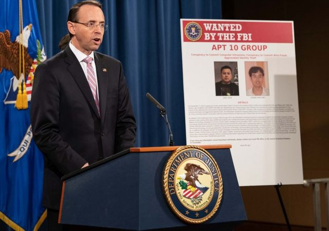 US Deputy Attorney General Rod Rosenstein speaking at a press conference about Chinese hacking at the Justice Department in Washington, DC, on December 20, 2018.
