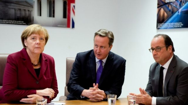 写真左からメルケル独首相、キャメロン英首相、オランド仏大統領