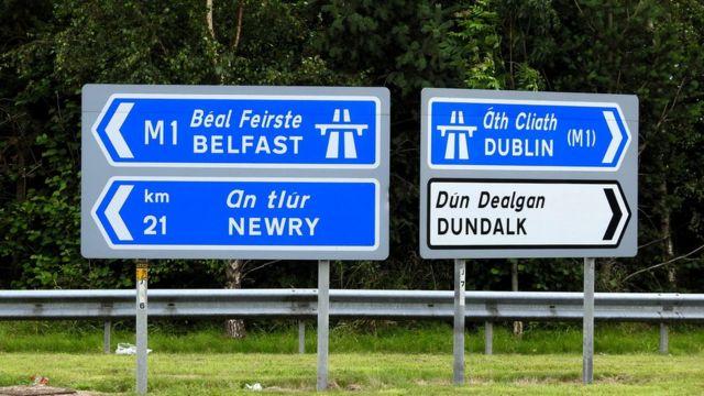Road signs near the Irish border