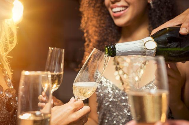 Celebração com champagne