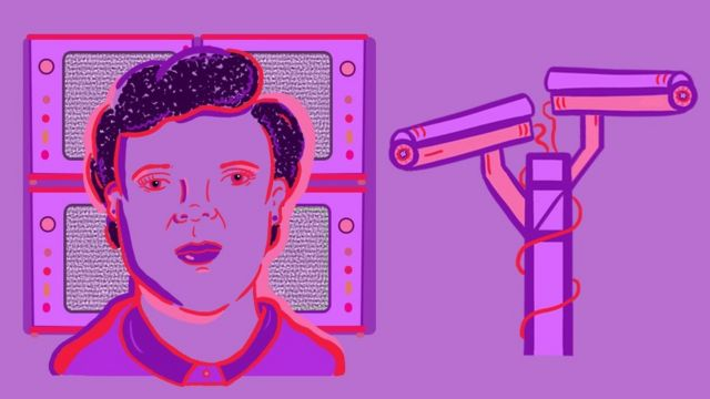 Illustration of Marie Van Brittan Brown and CCTV cameras