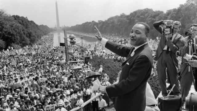 Martin Luther King Jr. en su famoso discurso en Washington en 1963.
