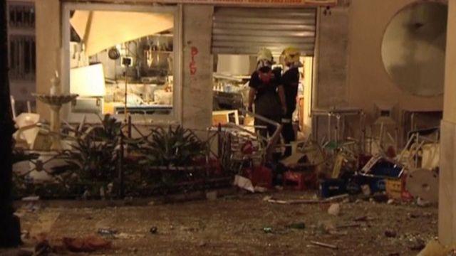 Destrozos en el café de Málaga